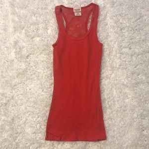 Mossimo XS red lace back tank top